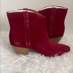 Frye and Co Raspberry Suede Ankle Boots Sz 11